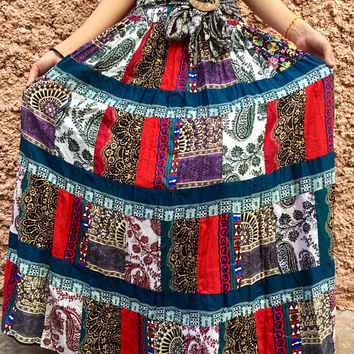 Hippie Festival Patchwork Maxi Dress Maxi Skirt bohemian Boho Gypsy Colorful clothing tribal Vegan style One of kind handmade gift Women