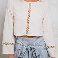 White Long Sleeve Crop Blouse