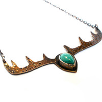 Malachite and Deer Antler Necklace in Copper- God of the Forest Necklace- Elk Antlers