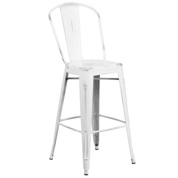 Flash Furniture Distressed White Barstool [ET-3534-30-WH-GG]