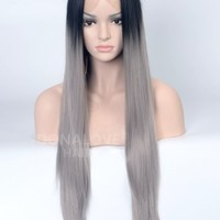 Black to Gray Straight Synthetic Lace Front Wig-SNY079 - Home - DonaLoveHair