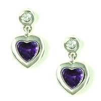 Heart Shaped Purple CZ in Bezel Set Small Stud Earrings