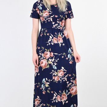 Fallen for You Floral Maxi Dress {Navy}