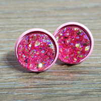 Druzy earrings- Hot Pink drusy - Pink stud druzy earrings