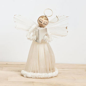 Vintage Spun Cotton Angel Christmas Ornament Tree Topper, Mid-century Plastic Filament Angel