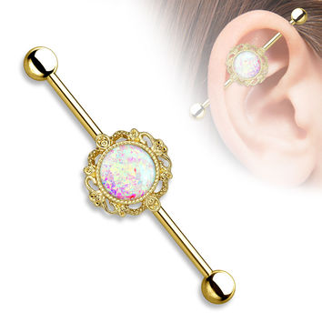 Opal Glitter Gold Industrial Barbell Surgical Stainless Steel 14ga Body Jewelry
