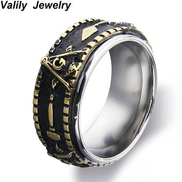 Valily Jewelry Men's Gold Color Spinner Freemason band ring stainless steel fashion rotate masonic signet ring for women