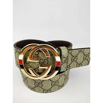 GUCCI classic printing men and women models wild fashion simple smooth buckle pants belt Gold