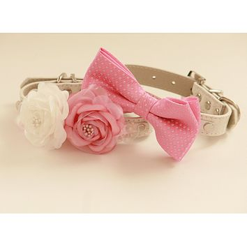 Pink wedding Two dog collars, Floral collar and pink bow tie, wedding accessory