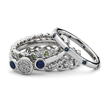 Sterling Silver Stackable Flirty Diamond & Multi Gemstone Ring Set