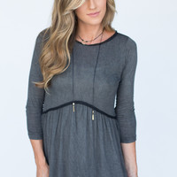 Circle Edge Embroidered Trim Top - Charcoal