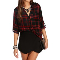 Sale-red Plaid Marilyn Collar Top