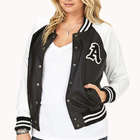 Too Cool Faux Leather Varsity Jacket