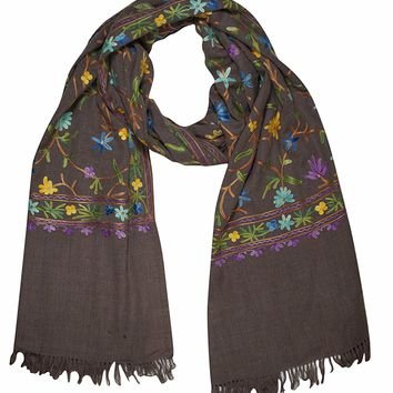 Mogul Women Cashmere Scarves Stole Woolen Crewel Floral Ari Embroidered Wrap Shawl Gift For Her (Brown-1): Amazon.ca: Luggage & Bags