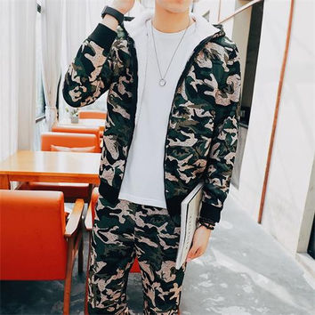 Camouflage Tracksuit Men's Sportswear Hoodie And Pants Hooded Zip Up Sweatshirt Winter Thick Green Track Jump Suit Set