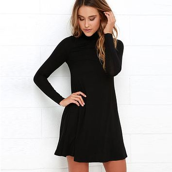 Women Elegant Solid Color Ruched Casual Wear To Work Office Fitted Skater A-Line Swing Dress Turtleneck Long Sleeve dress EY11
