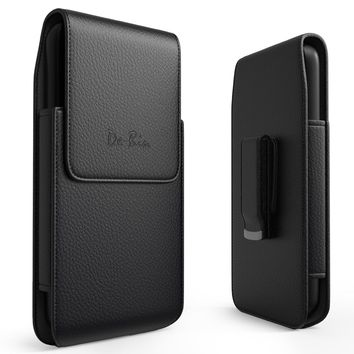 iPhone 8 Plus Case, Apple iPhone 7 Plus Vertical Leather Belt Case with Clip (Rotatable) Holster Pouch Carrying Sleeve For Apple iPhone 8 7 Plus (Fits Cell Phone with Another Thin Cover Case On)