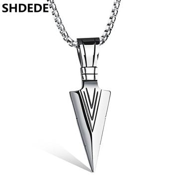 SHDEDE 316L Stainless Steel Fashion Jewelry Men's Vintage Spearhead Arrowhead Pendant Necklace For Men Accessories .ON1070