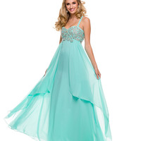 Mint Empire Waist Embellished Bodice Chiffon Gown 2015 Prom Dresses