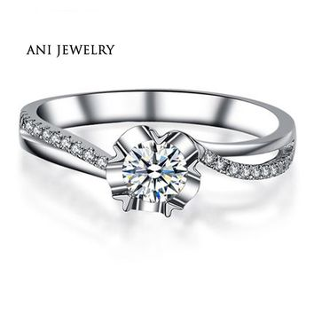 ANI 18K White Gold (AU750) Women Wedding Ring 0.4 CT Certified I/SI Round Cut Natural Diamond Twist Bridal Rings for Engagement