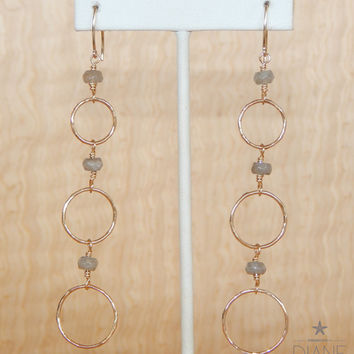 graduated gold rings with faceted labradorite earrings