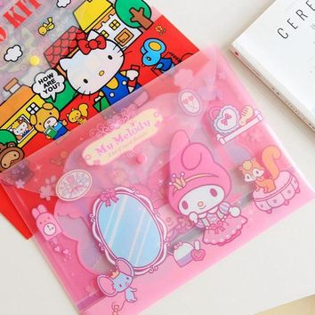 1 Pcs Hot Cute Hello Kitty My Melody Twin Stars File Bag Document Bag File Folder Stationery Filing Production School Supply