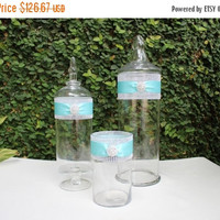 ON SALE Aqua Wedding Decor Package / Aqua Candy Buffet Jars / Large Apothecary Jars / Aqua Wedding Decor