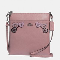 Messenger Crossbody With Heart Applique