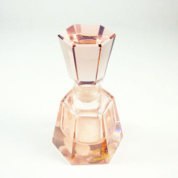 Irice Perfume Bottle Pink Glass Made in Taiwan Vintage Vanity Accessory