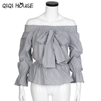 Ladies Office Shirts Off Shoulder Striped Bow Cute Tops Long Sleeve Elegant Blouse Casual Shirt Chemise Femme Manche Long#C822