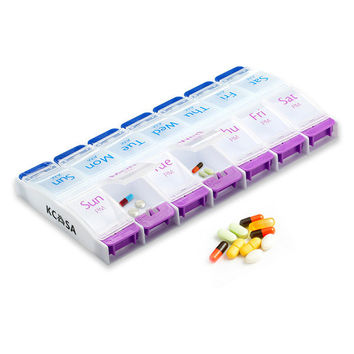 KCASA KC-JS1408 Weekly Travel Pill Box Organizer Push Button Portable Am Pm Tablets Holder