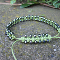 Lime Macramé Bracelet with Gunmetal Accents