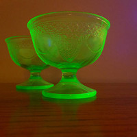 Pair Federal Georgian Green Champagne Glasses, Federal Uranium Glass Sherbet Glasses, Love Bird Vaseline Glass Dessert Dishes