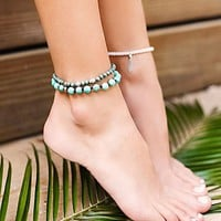 Free People Sandbar Beaded Anklet Set
