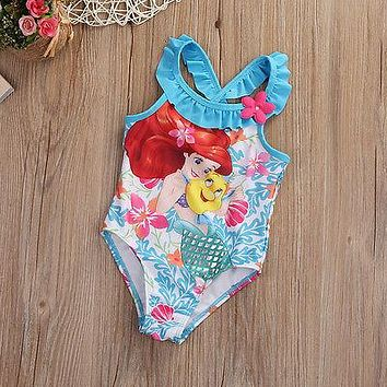 kids clothes Children Baby Girl Little Mermaid Bikini Suit Swimwear Swimsuit Bathing Costume toddler 1-6Y new 2017