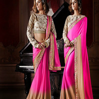 Shaded Pink and Light Brown Saree