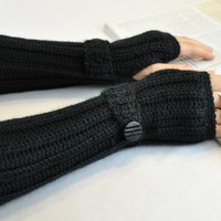 Arm Warmer Fingerless Glove Black by TempoDesigns on Etsy