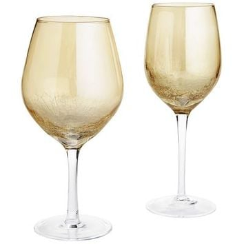 Golden Luster Crackle Stemware