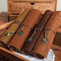 Hot Leather Pencil Case Bag, Treasure Map, Makeup Bag and Womens' Messenger Bag