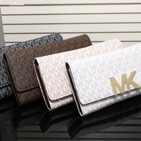 """Michael Kors"" Women MK Purse Fashion Logo Letter Print Button Long Section Three Fold Wallet Handbag"