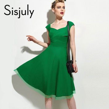 Sisjuly Vintage Dress Summer Black Sexy Retro Red Dress V Neck Elegant Green Slim Short Sleeve A-line Party Dresses 1950s 2017