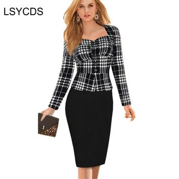 New Women Spring Faux Two Piece Dress Lady Elegant Patchwork Long Sleeve Bandage Slip Sheath Work Office Dresses