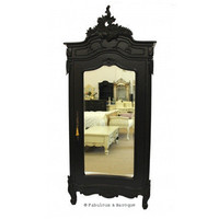 Fabulous & Baroque ? Christelle Single Door Mirrored Wardrobe- Black