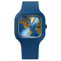 Golden World Map Navy Blue Modify Wrist Watch