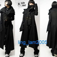 All black PUNK Kera Cosplay Gothic COLLAR long JACKET M