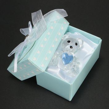 Crystal Bear Blue Heart Christening Baby Shower Favor Home Party Decorations