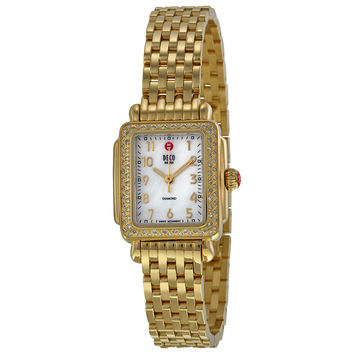 Michele Deco Mini Diamond Gold Tone Ladies Watch MWW06D000020