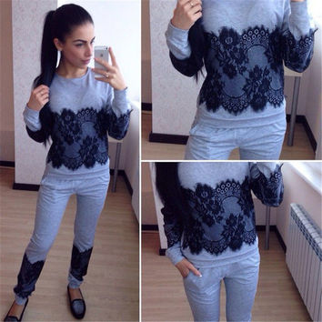 Women Casual 2 Pieces Tracksuit Slim Sexy Long Sleeve Hoodies 2016 Autumn Trousers Lace Joging Sets Solid Tops+Pants  X0263