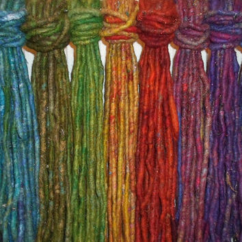 10 x TRIBAL SINGLE ENDED Dreadlocks Se Felted Wool Dreads Festival Pixie Gypsy Hair Extension Elf Pixie Faery Fairy Fae Dreads Psy Trance