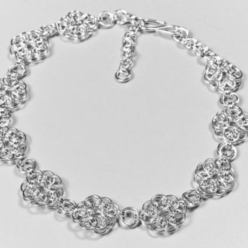 Dramatic Collar Chainmaille Hand Woven Sterling Silver Necklace